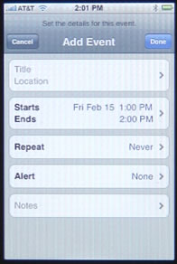 iPhone Calendar Add Event