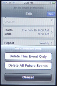 iPhone Calendar Delete Event