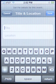 iPhone Calendar Title and Location