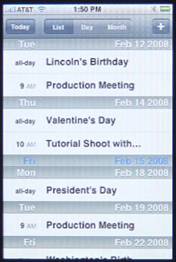 iPhone Calendar List View