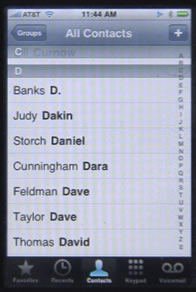 iPhone Contacts List