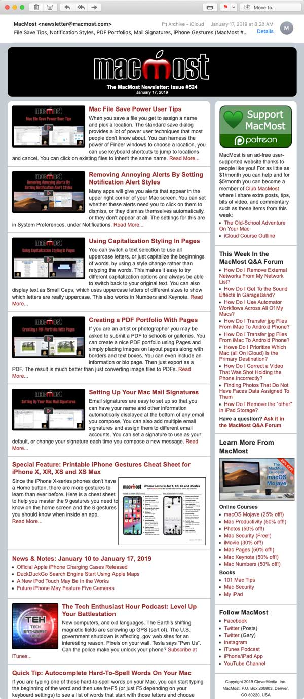 Get the latest MacMost tutorials, tips and news right in