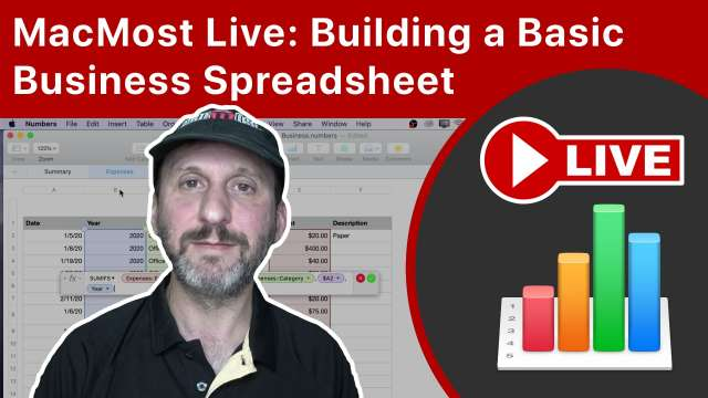 MacMost Live: Building a Basic Business Spreadsheet In Mac Numbers