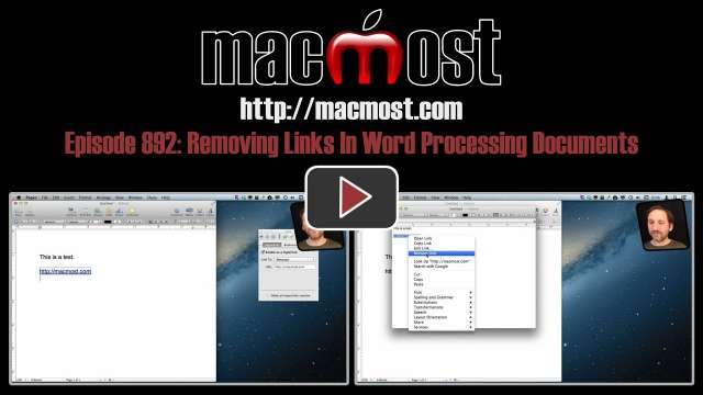 MacMost Now 892: Removing Links In Word Processing Documents