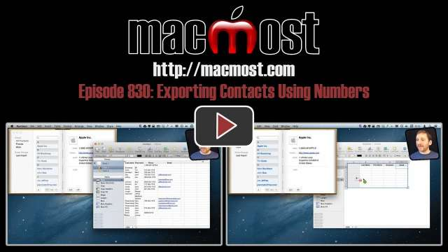 MacMost Now 830: Exporting Contacts Using Numbers