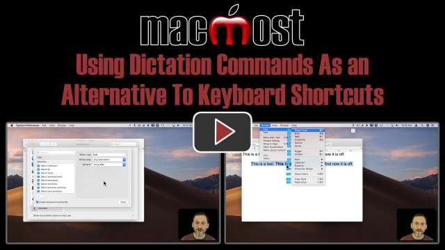 Using Dictation Commands As an Alternative To Keyboard Shortcuts