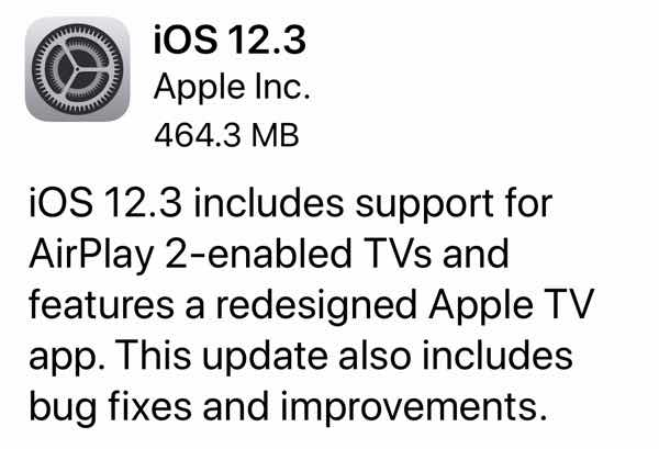 iOS 12.3 Update for iPhone and iPad